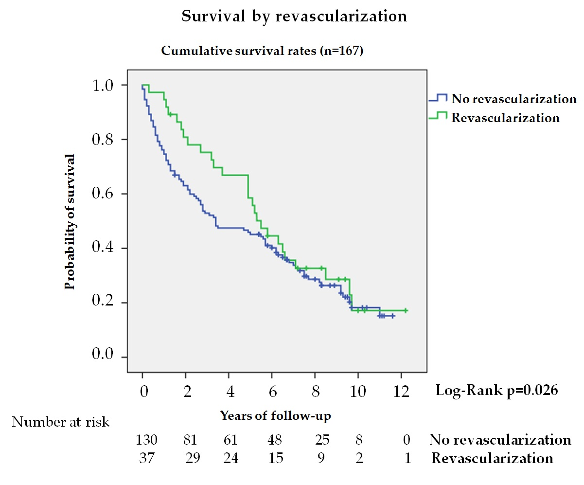 Figure 4. Kaplan—Meier curves for survival. Survival by SINBADSurvival by revascularization in patients with ischemic lesion (n = 167).